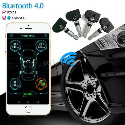 Tire Car Bluetooth Tyre Pressure Monitor TPMS x4 for iPhone iOS Android Wireless