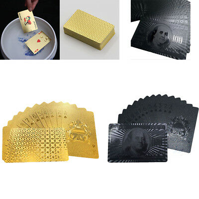 Appealing High Grade 24Gold Foil Poker Lattice Grid Pattern Black Playing Cards