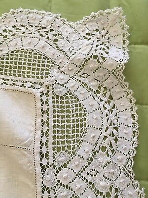 Antique Embroidered Handmade LACE TABLE CLOTH Square crochet vintage tablecloth