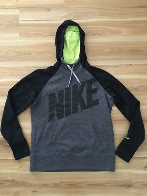 Nike Mens Size Large Therma Fit Jumper Black Grey Long Sleeve