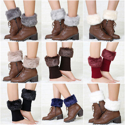 Fashion Womens Winter Knitted Boot Cuffs Fur Knit Toppers Boot Socks Leg Warmers