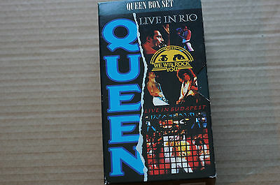 Rare Queen Live Videos Set of 3 We will rock you Rio and Budapest PAL VHS Ex