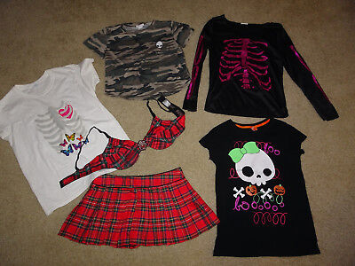 GOTH PUNK LOT 6 ITEMS SEXY HALLOWEEN hot topic tripp alien tops shirts skirt bra