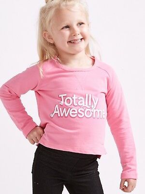 Bnwt Girls Sager Squad Uk Pink Totally Awesome Cropped Sweatshirt Age 2-8 Years
