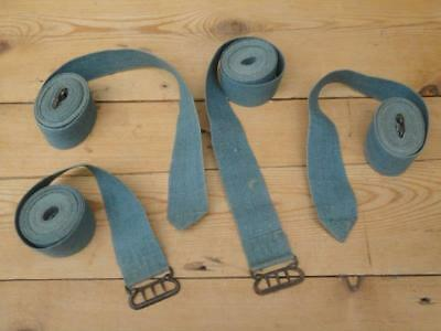 Vintage Cotton ? Luggage Cargo Holding Straps Bands Metal Buckles With Spikes B5