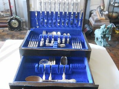 International Sterling Silver Wild Rose Flatware 93 pc Set