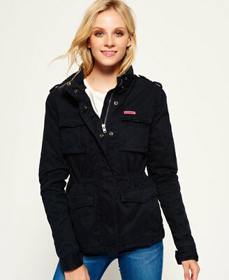 New Womens Superdry Winter Rookie Military Jacket Midnight 2