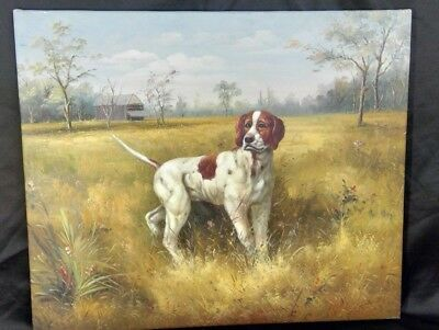 ENGLISH POINTER Hunting Dog OIL PAINTING Landscape , Skilled Accurate Anatomy