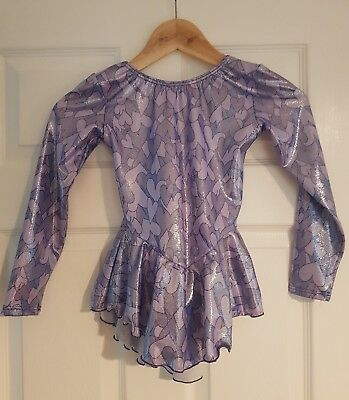 Girls Lycra Ice Skating Dress - Purple Hearts in Excellent Condition 7-8 yrs
