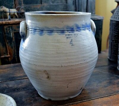 Antique 4-gallon SMITH & DAY NORWALK Connecticut Stoneware Cobalt Crock Jar