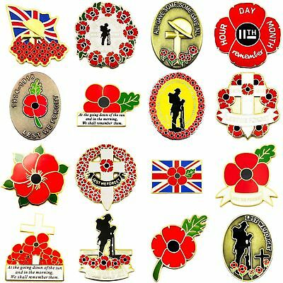 New Large Red Enamel Poppy Lapel Pin Badges Collection Military 2017 Brooch Army