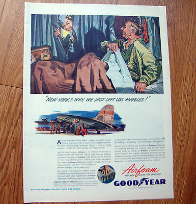 1945 Goodyear Airfoam Ad  New York Los Angeles Airlines Airplane
