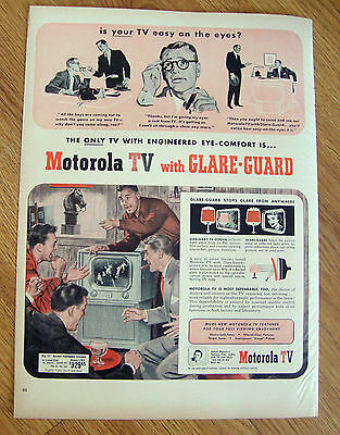 1951 TV Television Ad  Motorola with Glare-Guard