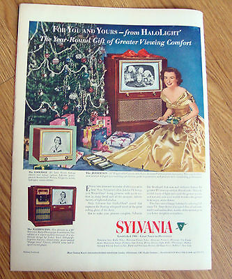 1951 TV Television Ad  Sylvania   Christmas Theme Coolidge Jefferson Washington