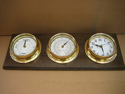 Tide Clock, Thermometer And An Arabic Clock + Oak Mount