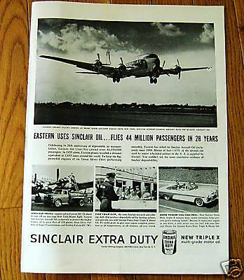 1956 Sinclair Oil Ad Eastern Airlines Golden Falcon