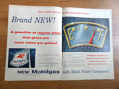 1955 Mobilgas Mobil Ad  New Mobilgas with Mobil Power Compound