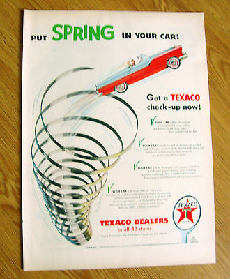 1955 Texaco Gas Oil Ad Put Spring in Your Car Ford Convertible  1955 7up Soda Ad