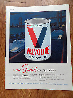 1960 Valvoline Motor Oil Ad  New Symbol of Quality Futuristic Automobiles