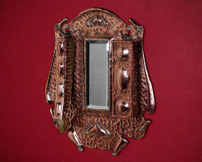 Antique Arts & Crafts Copper Hall Mirror with Brushes c.1905.
