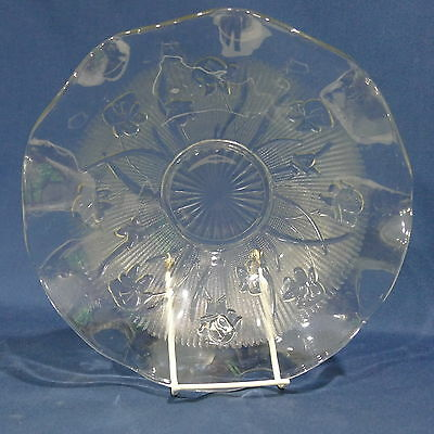 "Vintage Depression Glass Jeanette Iris and Herringbone 11¾"" Ruffled Center Bowl"