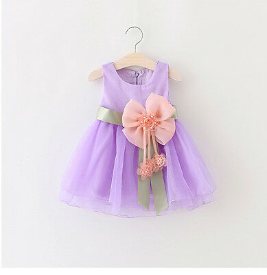 New Baby Girls Dress Toddler bowknot flower Party Clothes size:18-24Months