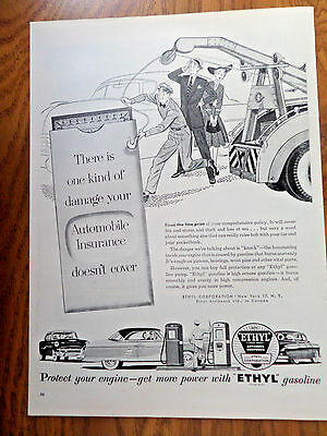 1953 Ethyl Gasoline Ad Insurance Doesn't the Knock