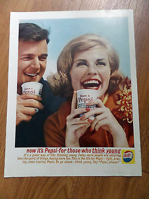 1962 Pepsi Cola Ad  For those who Think Young