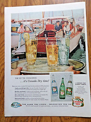 1956 Canada Dry Soda Pop Drink Ad   Tie up to Coolness  Boating Theme