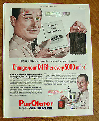 1954 Purolator Oil Filter Ad Service Station Owner Thompson Kansas City MO