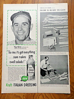 1956 Kraft Italian Dressing Ad  New York Yankees Catcher Yogi Berra