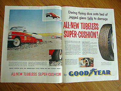 1954 Goodyear Tire Ad  Daring Flying Dive