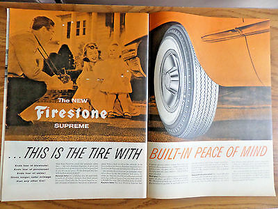 1956 Firestone Tire Ad  Family Birthday?  Balloons Tire with Built-In Peach Mind