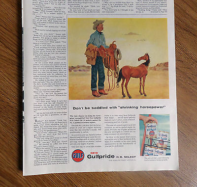 1956 Gulf Gulfpride H D Select Oil Ad Don't be Saddled with Shrinking Horsepower