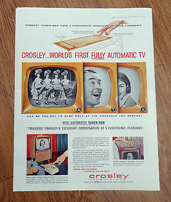 1956 TV Television Ad Crosley Automatic Tuner-Bar