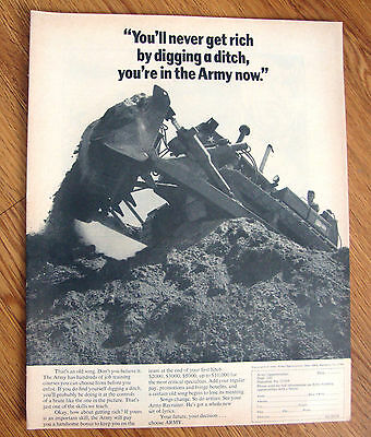 1970 Army Recruiting Ad You'll Never get Rich Digging a Ditch In Army Now