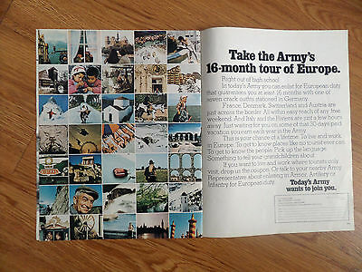 1971 Army Recruiting Ad Take the Army's 16 Month Tour of Europe
