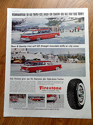 1959 Firestone Tire Ad Ice Mud or Snow  Chevrolet Ford PLlymouth Station Wagon ?
