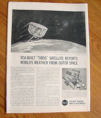 1960 RCA Ad  RCA Built TIROS Satellite Reports World's Weather from Outer Space
