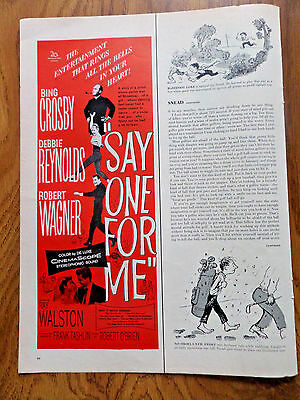 1959 Movie Ad Say One For Me Bing Crossby & D Reynolds