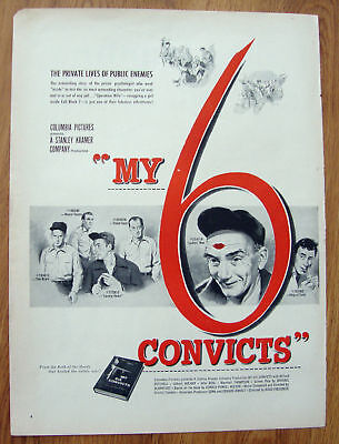 1952 Movie Ad My 6 Convicts Mitchell Roland Beal
