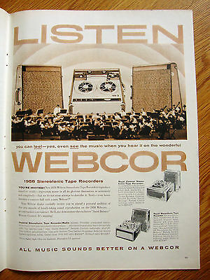 1958 Webcor High Fidelity Stereofonic Tape Recorder Ad