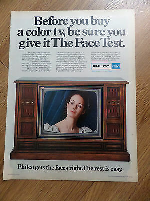 1969 Philco Color TV Television Ad  The Face Test