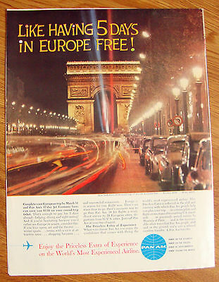 1962 Pan Am Airlines Ad - New York to Paris France