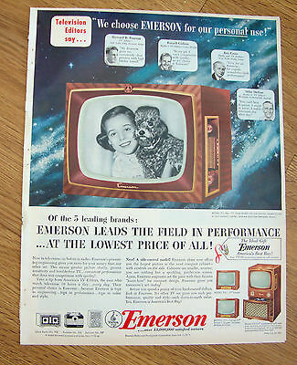1952 Emerson TV Television Ad   Shows 4 Models