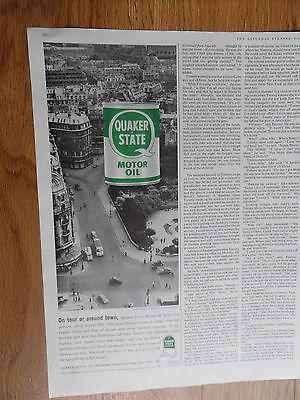 1959 Quaker State Motor Oil Ad Paris France from Notre Dame Cathedral View