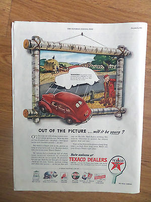 1945 Texaco Dealers Oil Gas Ad  Out of the Picture  Hunting Farming Theme