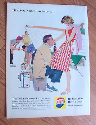 1960 Pepsi Cola Ad - Boat Painting Party