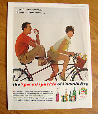 1962 Canada Dry Soda Pop Drink Ad Couple on Bicycle for Two