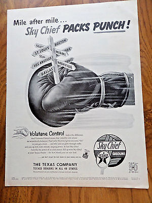 1952 Texaco Sky Chief Gasoline Ad Pack more Punch